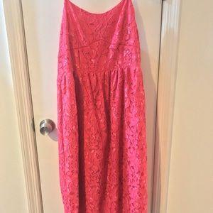 CeCe Pink Floral Lace Midi Dress